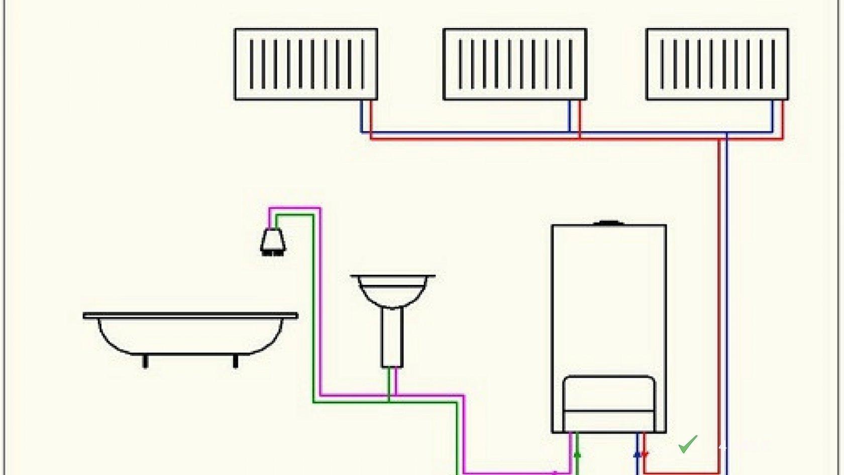 Схема отопления в частном доме с газовым одноконтурным котлом