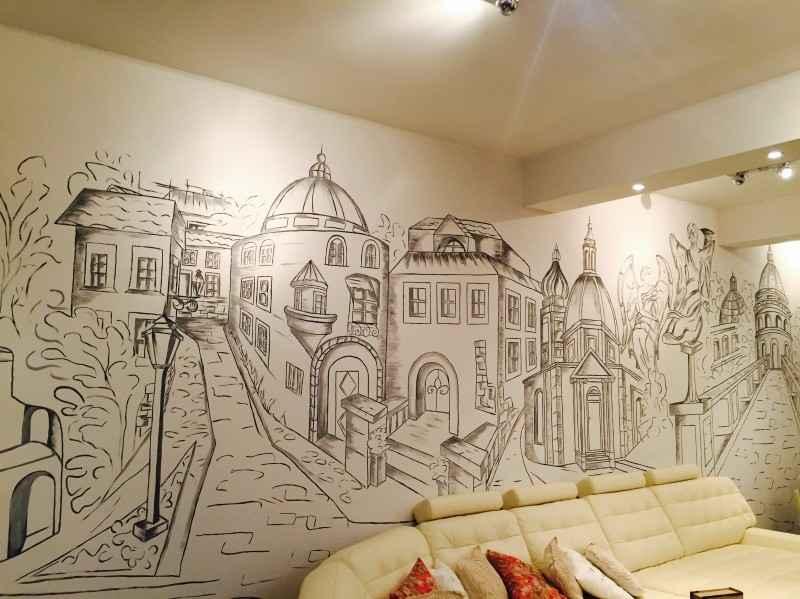 Роспись на стенах в интерьере своими руками 43