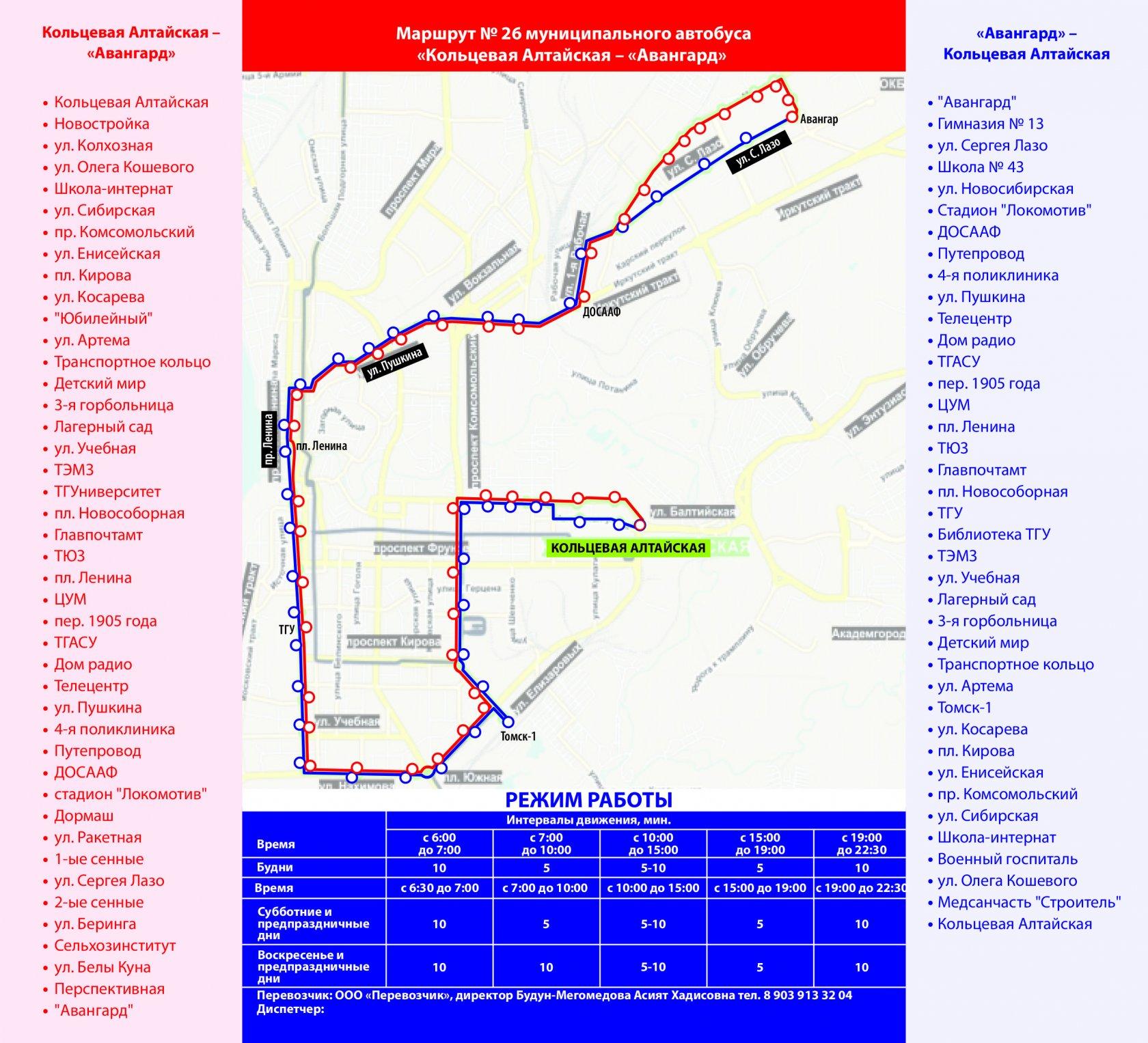 Схеме движения маршрутки 27