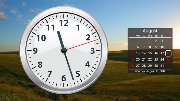 Заставка календарь и часы