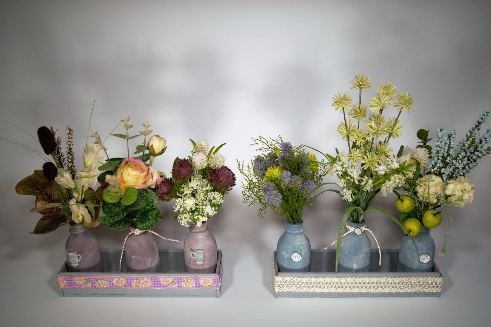 Фото композиций из искусственных цветов в интерьере