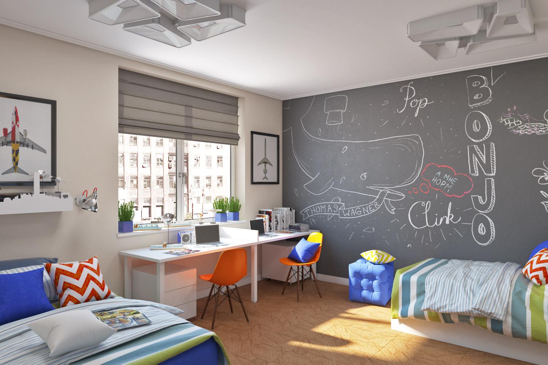 Дизайн стен для школьника