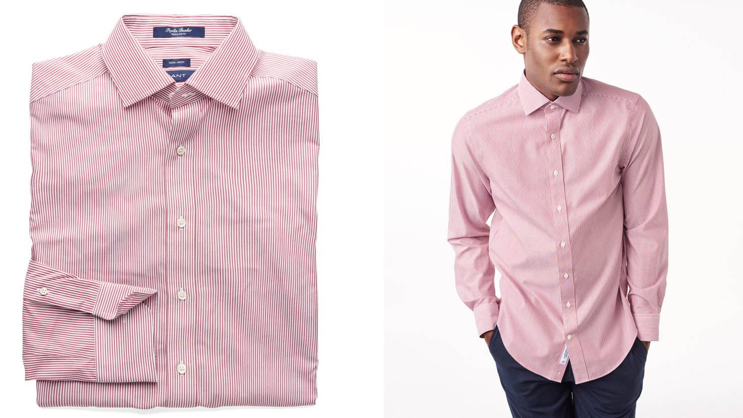 """Рубашка GANT, розовый цвет, мелкая белая полоска, """"косой воротник"""""""