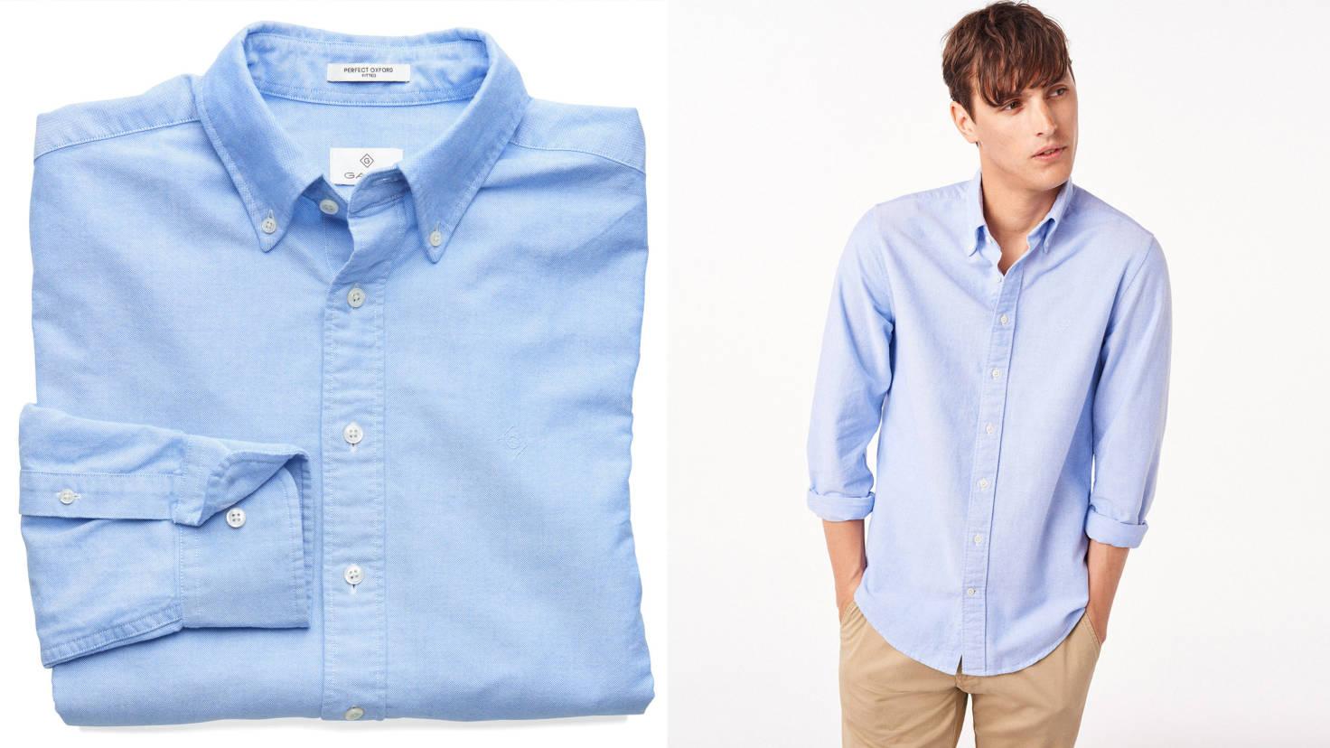 Классическая голубая рубашка GANT, воротник на пуговицах (Button-Down)