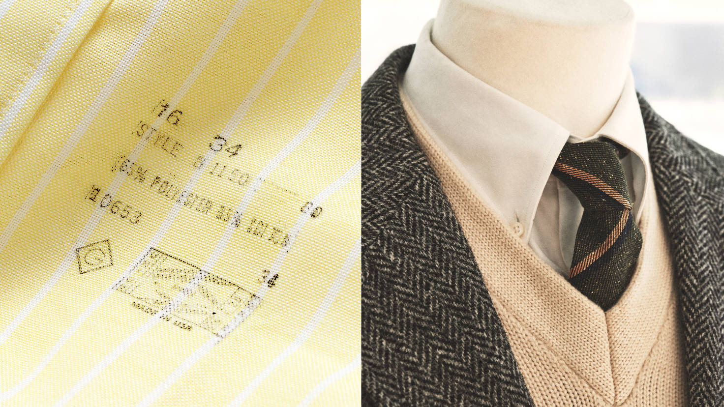 Слева классический винтажный снимок логотипа бренда на рубашке, справа воротник рубашки GANT крупным планом.