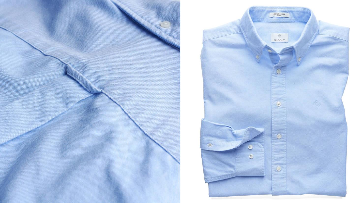 Голубая рубашка GANT, огромное внимание к деталям, петелька на спине (повесив рубашку за нее на крючок, она не помнется), пуговица позади воротника, байтовая складка и многое другое