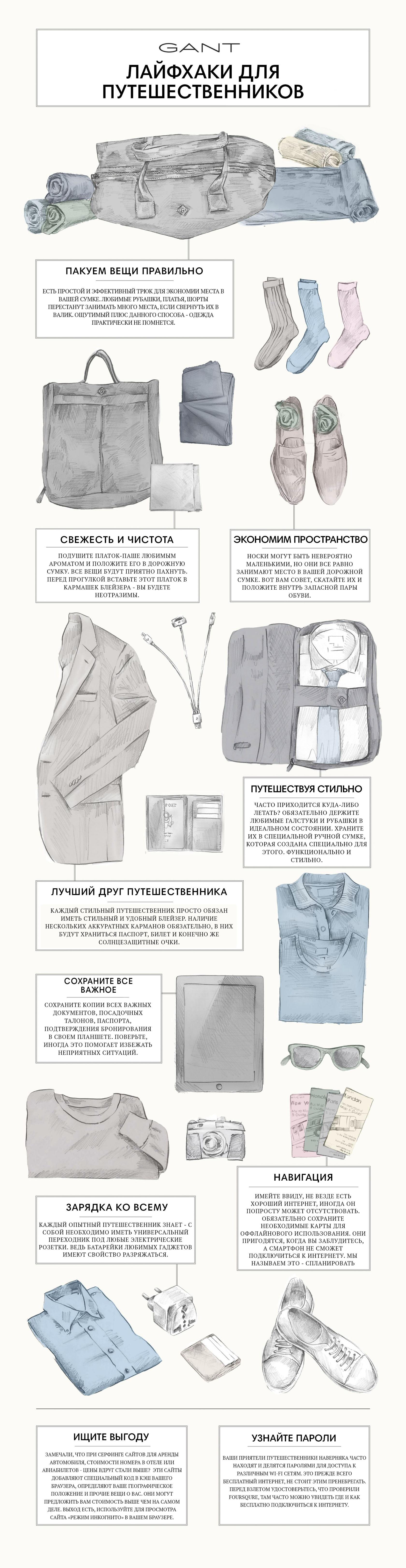 ПАКУЕМ ВЕЩИ ПРАВИЛЬНО  Есть простой и эффективный трюк для экономии места в вашей сумке. Любимые рубашки, платья, шорты перестанут занимать много места, если свернуть их в валик. Ощутимый плюс данного способа - одежда практически не помнется. СВЕЖЕСТЬ И ЧИСТОТА  Слегка подушите платок-паше любимым ароматом и положите его в дорожную сумку. Все ваши вещи будут приятно пахнуть. Перед прогулкой вставьте этот платок в кармашек блейзера - вы будете неотразимы. ЭКОНОМИМ ПРОСТРАНСТВО  Носки могут быть невероятно маленькими, но они все равно занимают место в вашей дорожной сумке. Вот вам совет, скатайте их и положите внутрь запасной пары обуви. ПУТЕШЕСТВУЯ СТИЛЬНО  Часто приходится куда-либо летать? Обязательно держите любимые галстуки и рубашки в идеальном состоянии. Храните их в специальной ручной сумке, которая создана специально для этого. Функционально и стильно. ЛУЧШИЙ ДРУГ ПУТЕШЕСТВЕННИКА  Каждый стильный путешественник просто обязан иметь стильный и удобный блейзер. Наличие нескольких аккуратных карманов обязательно, в них будут храниться паспорт, билет и конечно же солнцезащитные очки. СОХРАНИТЕ ВСЕ ВАЖНОЕ  Сохраните копии всех важных документов, посадочных талонов, паспорта, подтверждения бронирования в своем планшете. Поверьте, иногда это помогает избежать неприятных ситуаций. ЗАРЯДКА КО ВСЕМУ  Каждый опытный путешественник знает - с собой необходимо иметь универсальный переходник под любые электрические розетки. Ведь батарейки любимых гаджетов имеют свойство разряжаться. НАВИГАЦИЯ  Имейте ввиду, не везде есть хороший интернет, иногда он попросту может отсутствовать. Обязательно сохраните необходимые карты для оффлайнового использования. Они пригодятся, когда вы заблудитесь, а смартфон не сможет подключиться к интернету. Мы называем это - спланировать заранее. ИЩИТЕ ВЫГОДУ  Вы наверняка замечали, что при пересмотре сайтов для аренды автомобиля, просмотра стоимости номера в отеле или бронирования полета - цены вдруг стали выше? Есть один трюк. Эти сайты добавляют с
