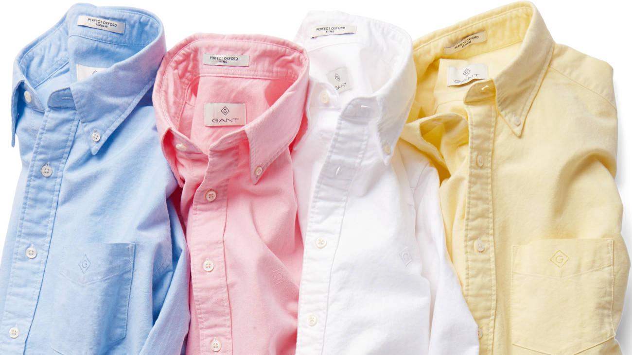 Рубашки GANT, классическая голубая, розовая, белая и желтая