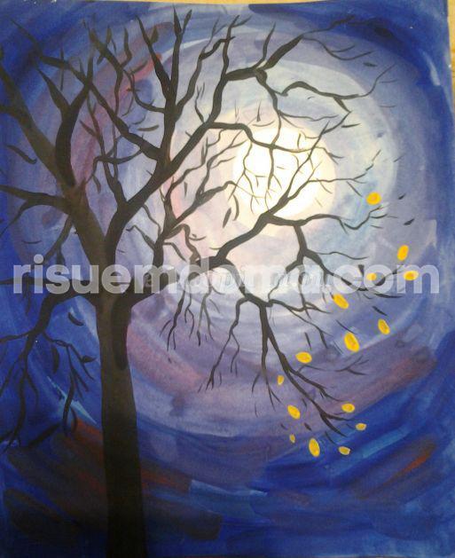 Рисуем осеннее дерево - бесплатные фото уроки для детей.