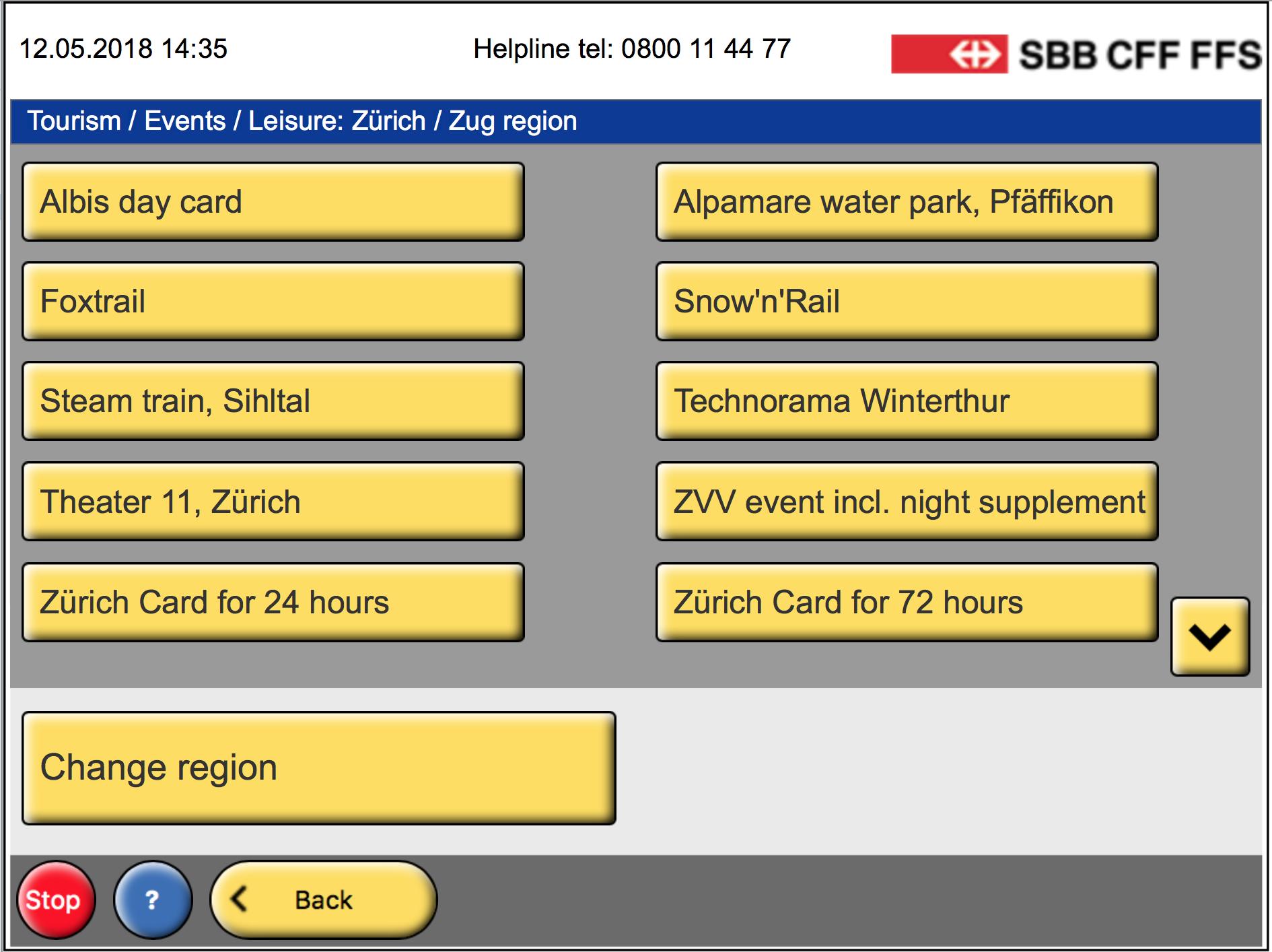 Меню «Tourism / Events / Leisure» показывает предложения вкантонах Цюрих иЦуг | SobakaPav.ru