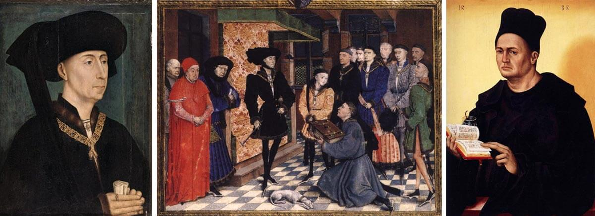 Картини от Средновековна Европа, 14 - 15 век, които изобразяват богати и заможни хора в черни дрехи.