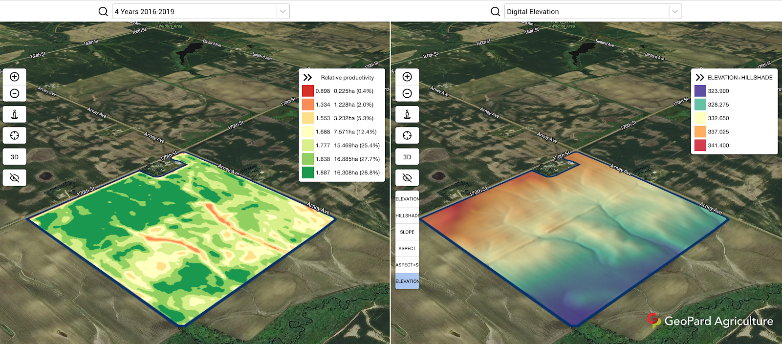 GeoPard correlation of topography and multi-year crop development pattern