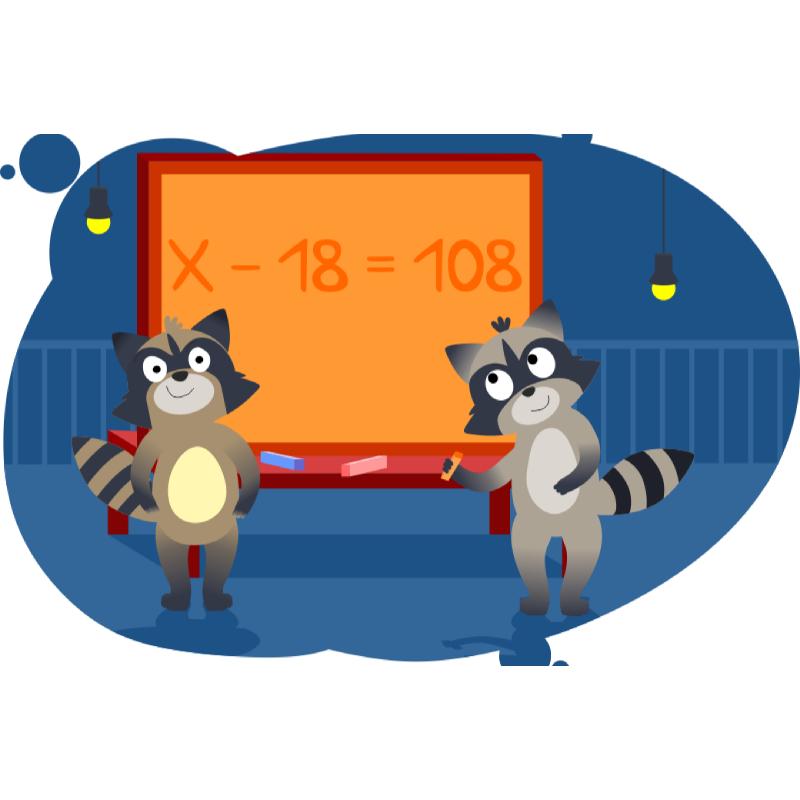 Еноты показывают как решать задачи по двум разностям