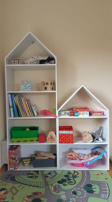 koka plaukts, mājiņa bērnu istabai, koka mēbeles, bērnistabas mēbeles, mēbeles no koka