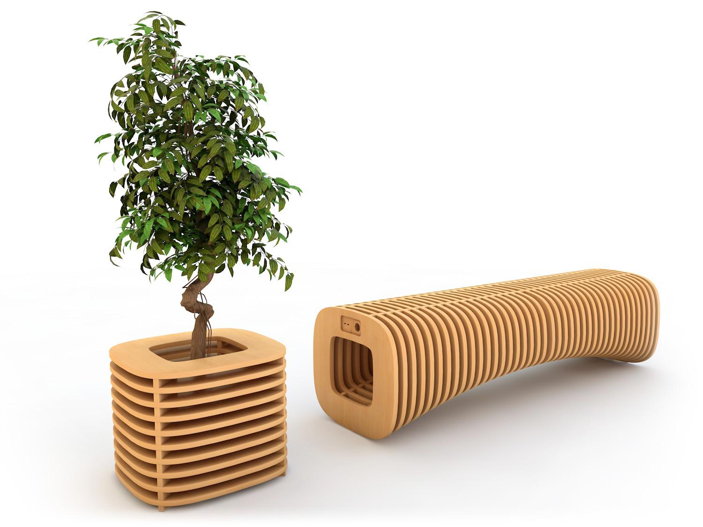 дизайн скамейки и кашпо для торгового центра