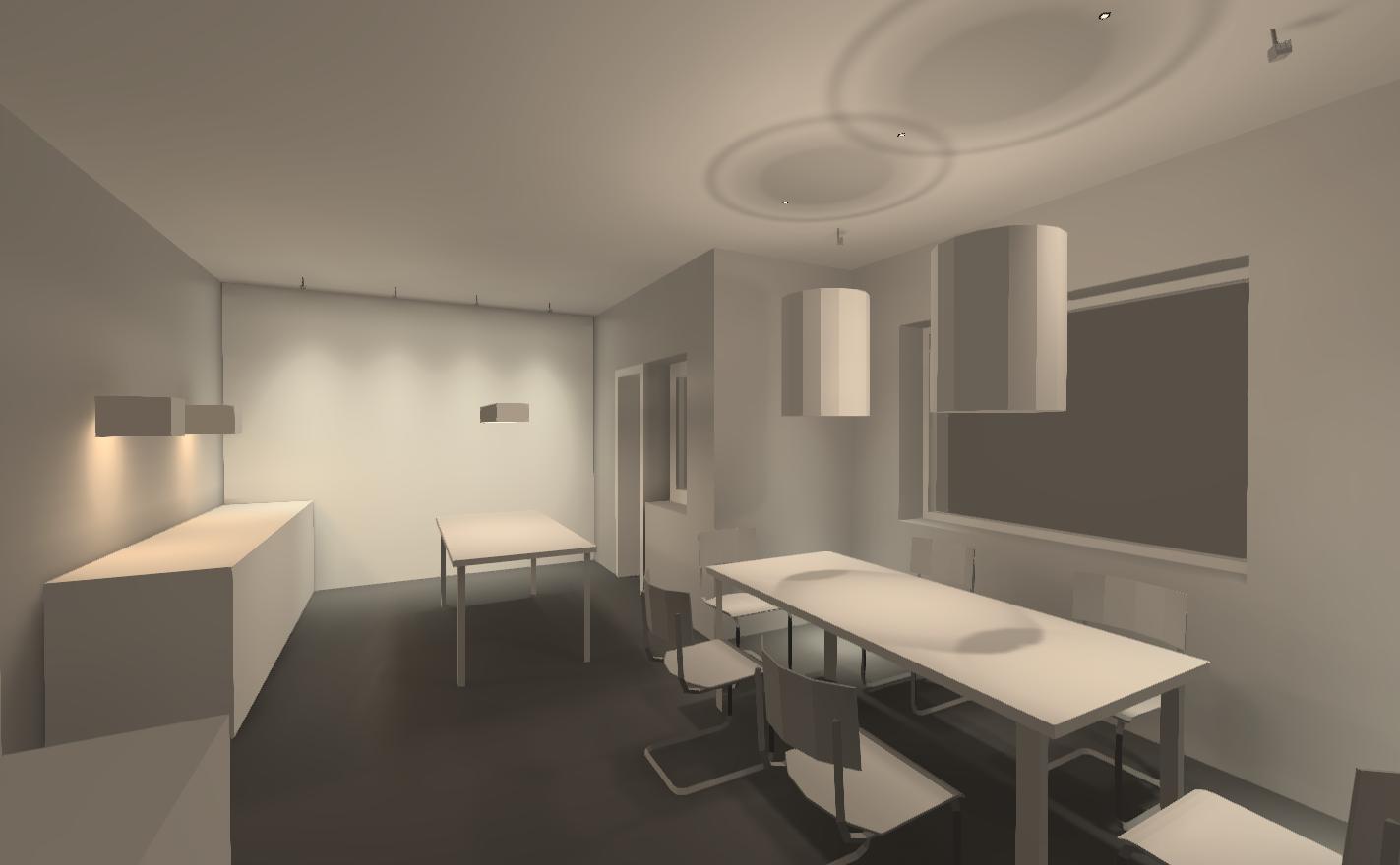 Визуализация освещения. Зона кухни-столовой