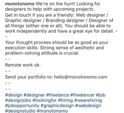 instagram caption hiring