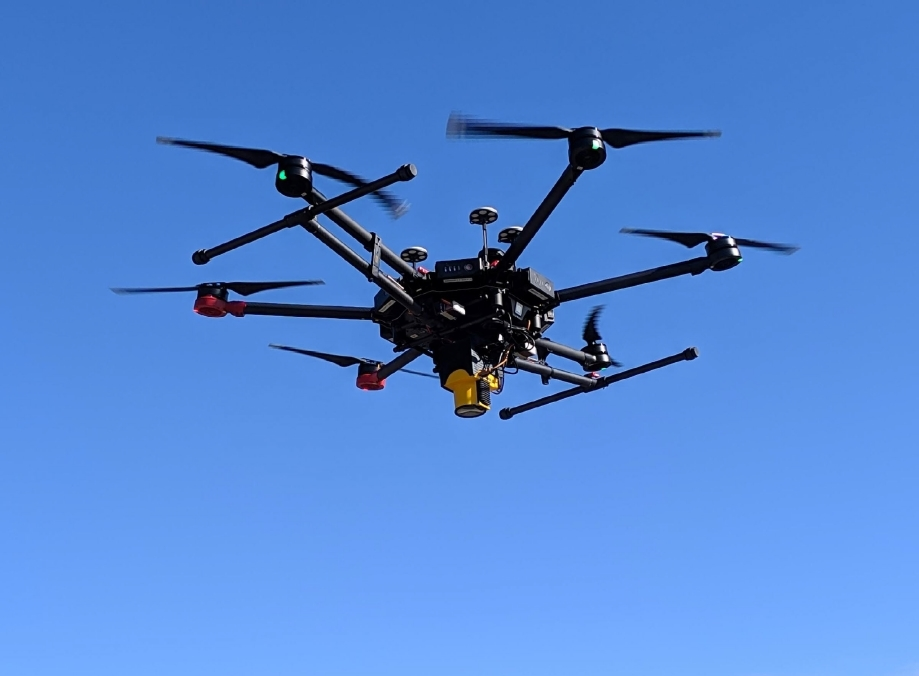 Light lift drones with IR laser methane detecion system. LMC Falcon detector installed on a DJI M600 Pro drone