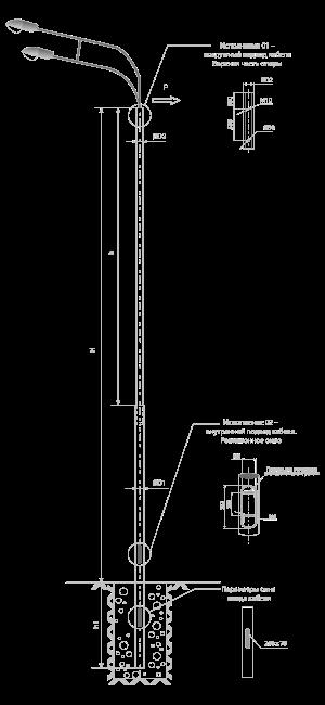 Опоры контактной сети прямостоечные трубные тип ТП