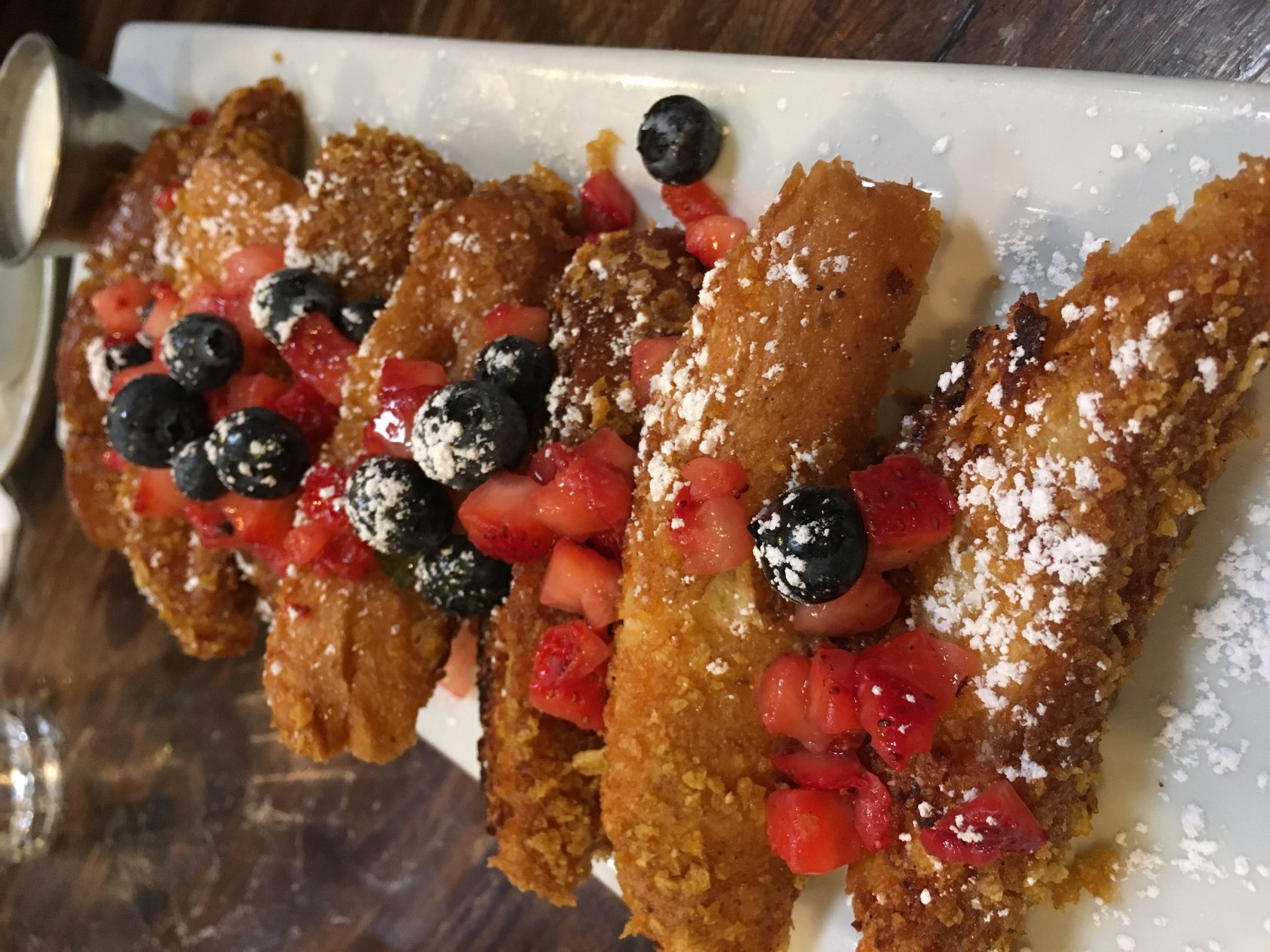 My Favorite Place To Eat Brunch Is At Blu Jam Cafe Everything I've Tried  On Their Menu Is Pretty Good, But This Crunchy French Toast