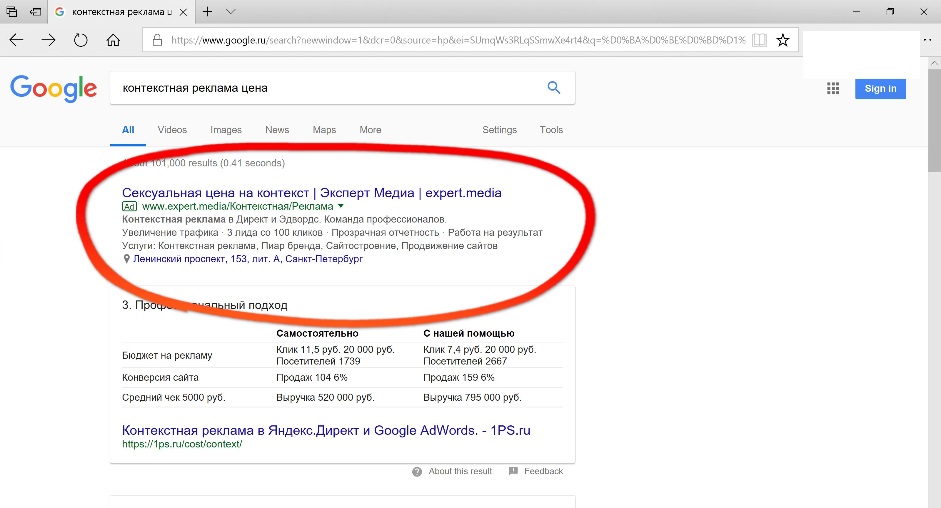 Контекстная реклама пример акт выпо контекстная реклама gmail
