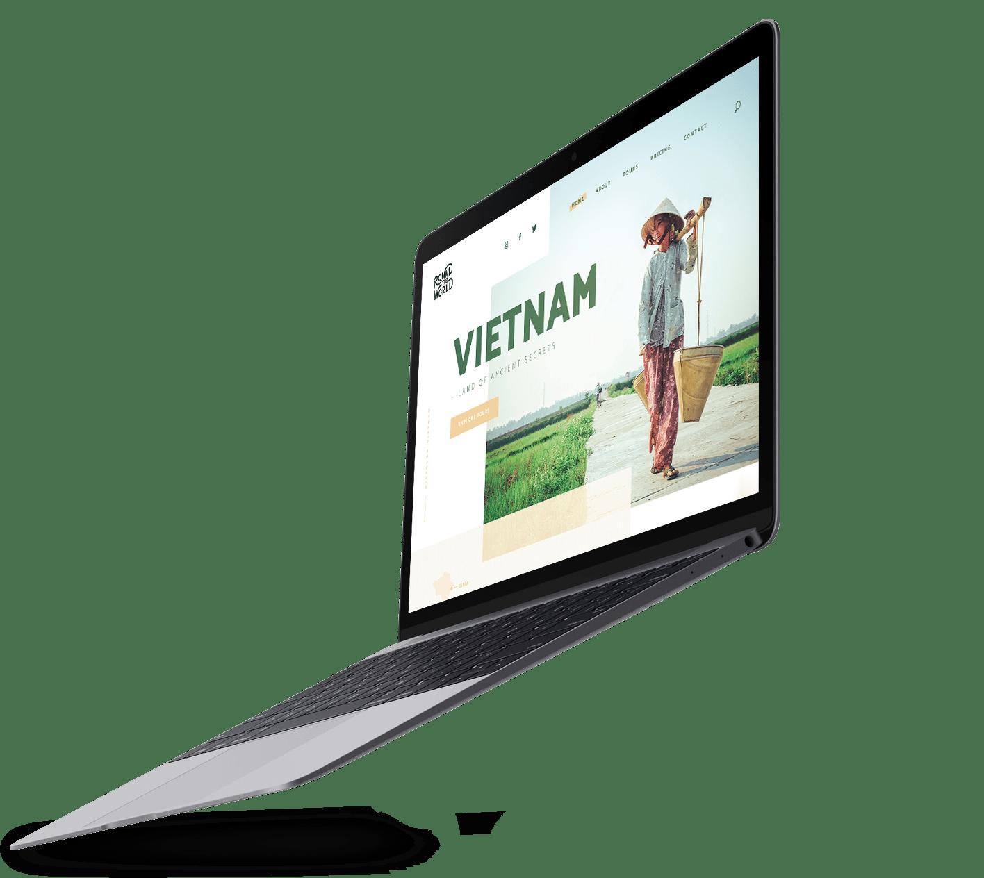 Laptop met webdesign van het project Round The World