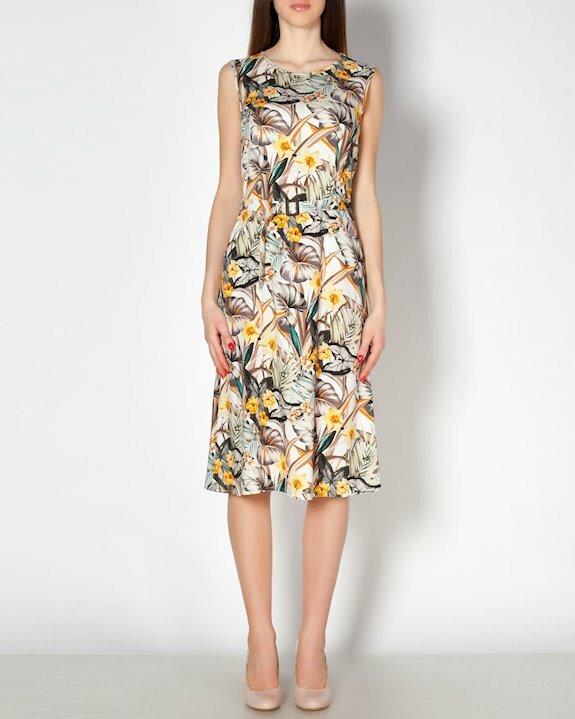 Дамска рокля на цветя без ръкав за лято 2021. Купи модерни рокли онлайн от Ефреа.