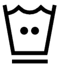Символ на етикет, който означава позволено пране с температура на водата до 40 градуса и програма в пералнята, която не намачква дрехите