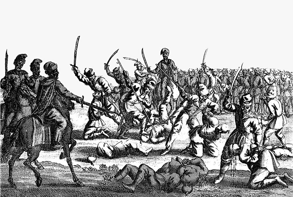 Казнь польских пленников после битвы под Батогом, 1652 год. (гравюра 1713 г.)