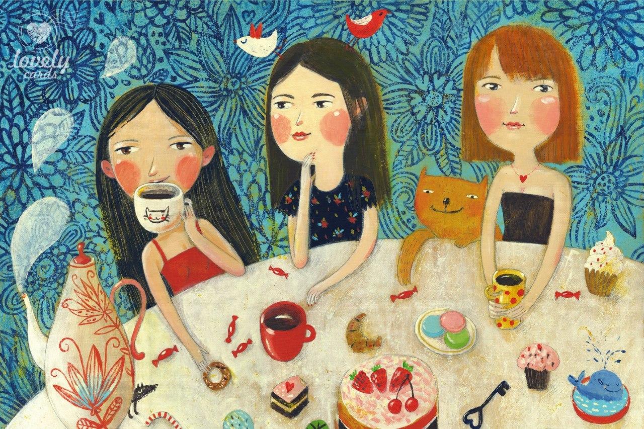Картинка с девчонками посиделки, красивые картинки веселые
