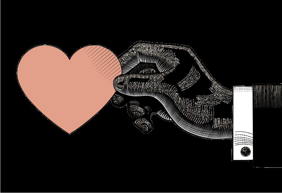 Гравюрная иллюстрация_кисть руки, держащая сердечко