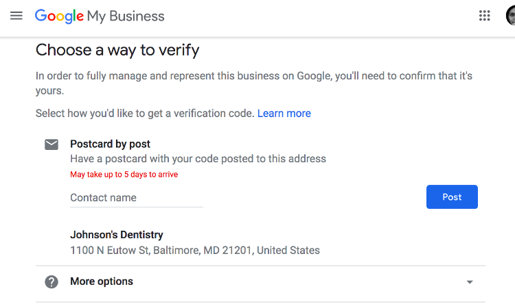 choose way to verify without contact person