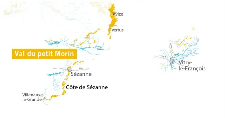 Map of the Côte des Blancs from the UMC website