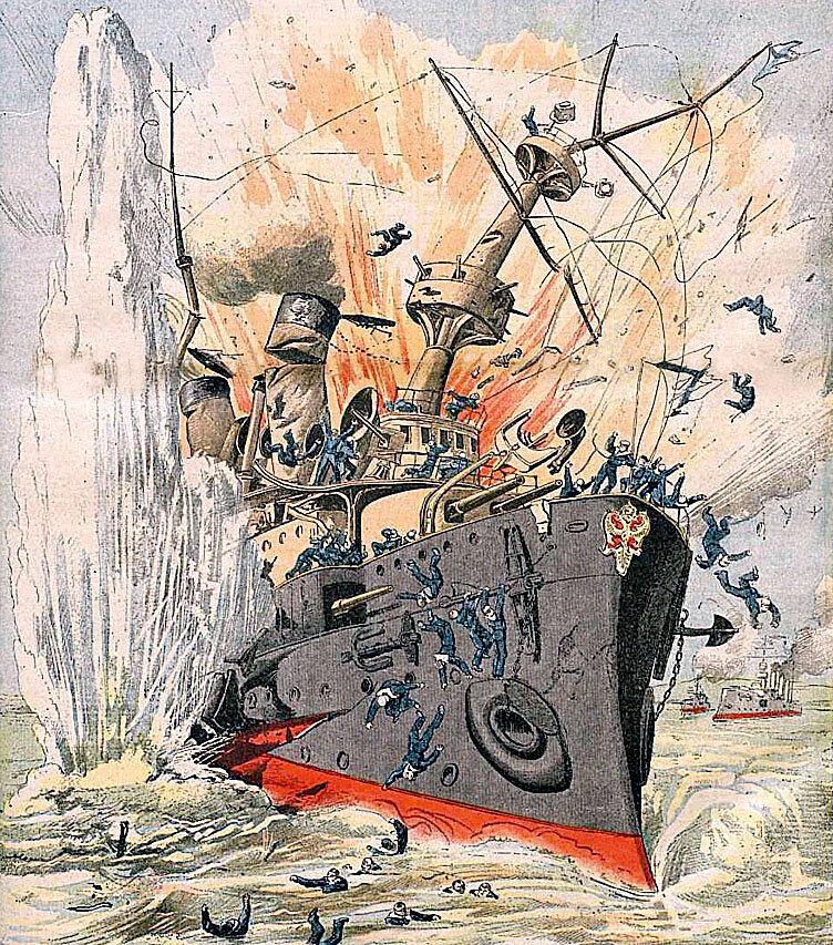 Изображение гибели броненосца «Петропавловск» в журнале La Petit