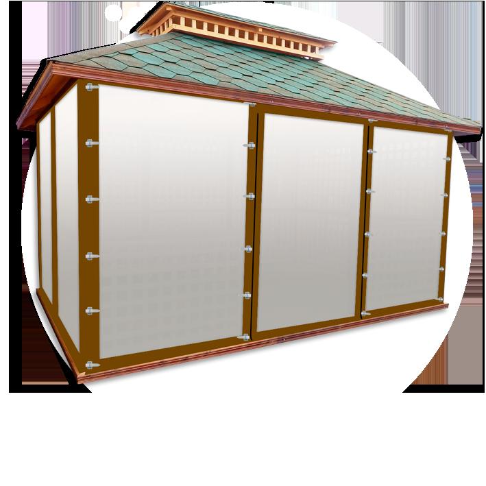 Мягкие окна для беседок и террас, создаваемые из современных материалов теперь могут иметь как сплошную, так и комбинированную структуру.