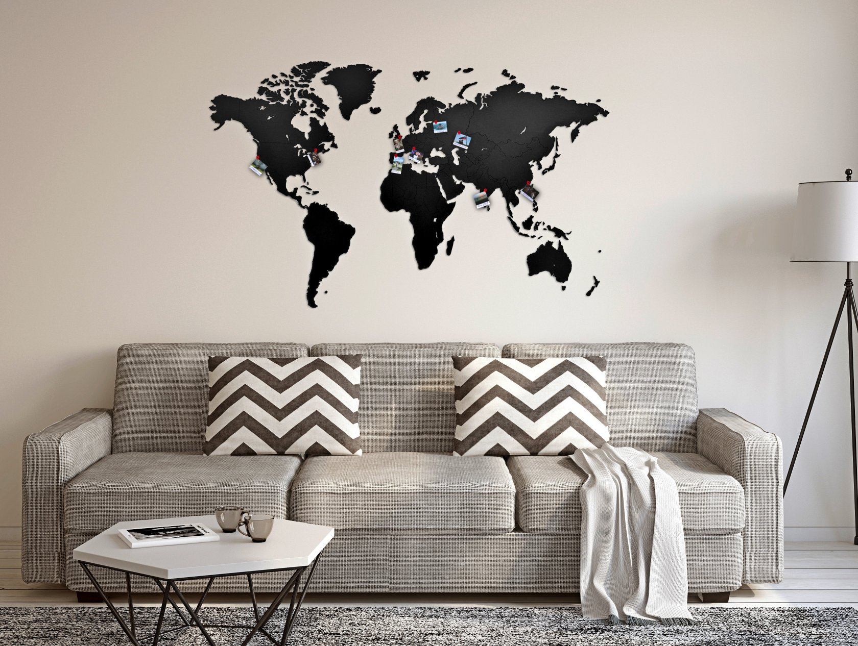 Wall Decoration Black 130 x 78 см Mappuzzle