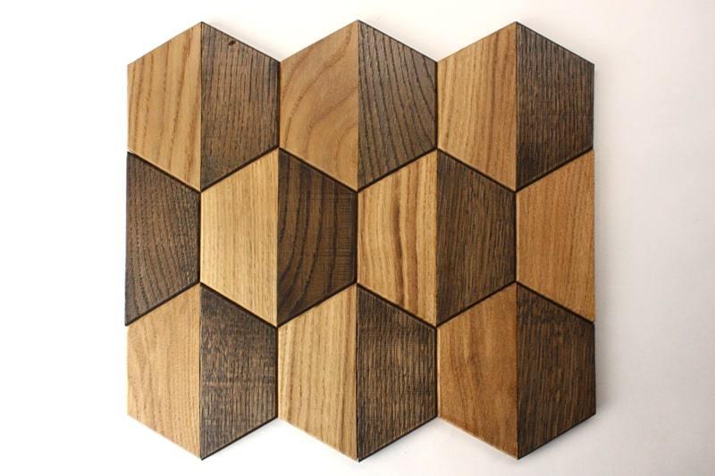 Деревянная мозаика с 3D эффектом, серия «Гексо», размер чипа 120×139 мм. цвет: натуральный и венге
