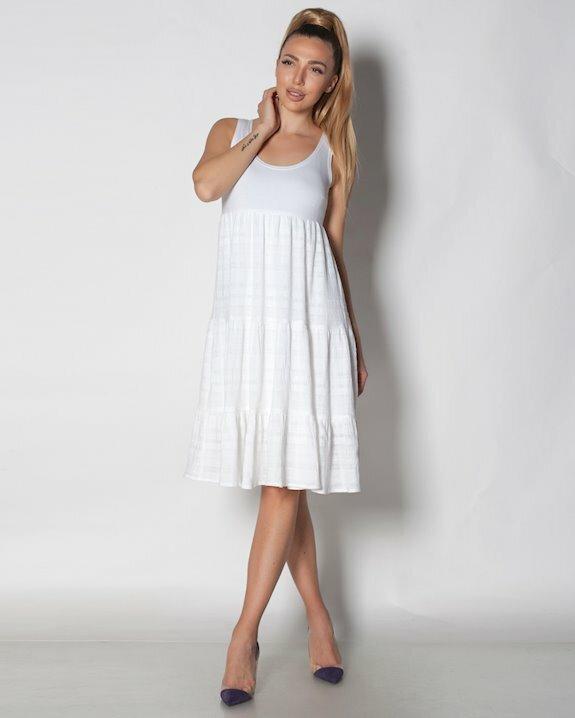 бяла рокля от памук за лято 2021.