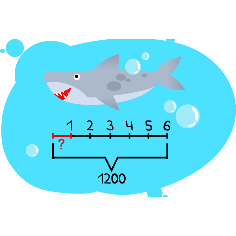 Решение текстовой задачи про акулу и ее длину