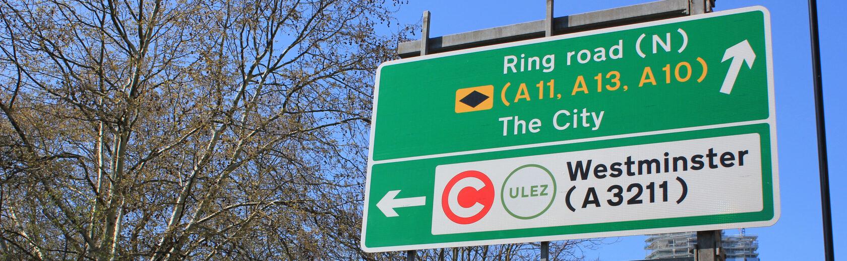 знак платного въезда в Лондоне