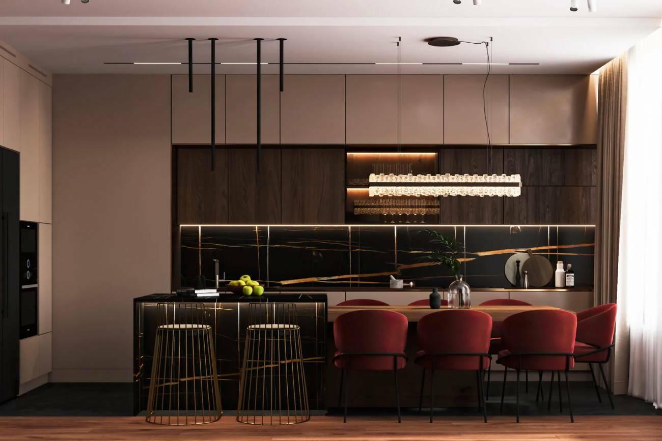 Шоколадно-кофейная квартира для семьи