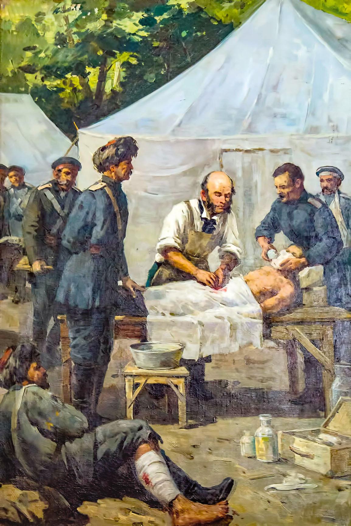 «Николай Пирогов оперирует раненого под эфирным наркозом». Неизвестный художник.