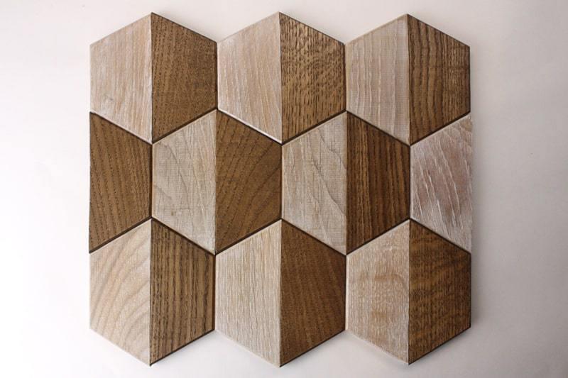 Деревянная мозаика с 3D эффектом, серия «Гексо», размер чипа 120×139 мм. цвет: орех и беленый