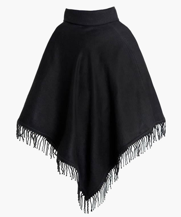 Купить черное пончо с воротником арт. 1404