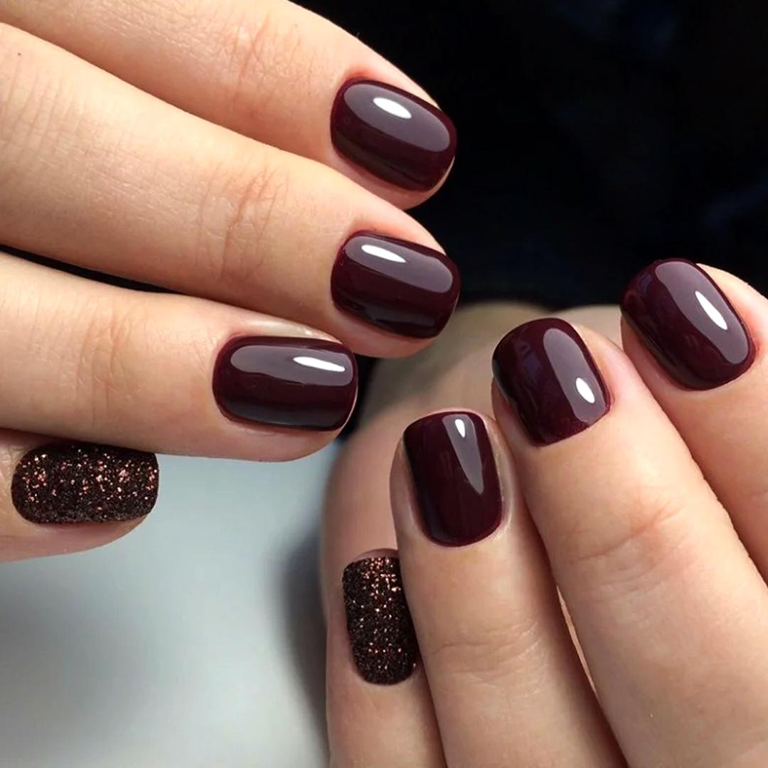 Бордовый маникюр на длинные ногти (33 фото)
