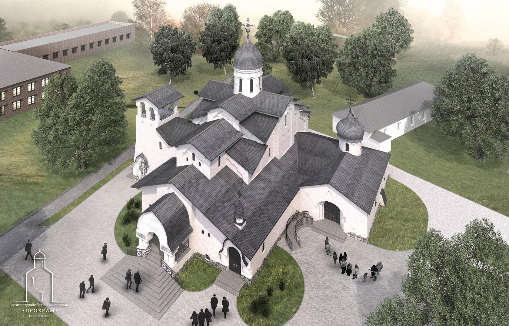 ахитектурный проект храма, эскиз храма, современная храмовая архитектура, храм прп петра и февронии