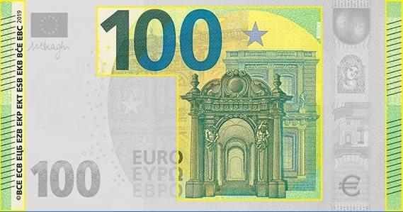Повышенный рельеф на Евро банкнотах