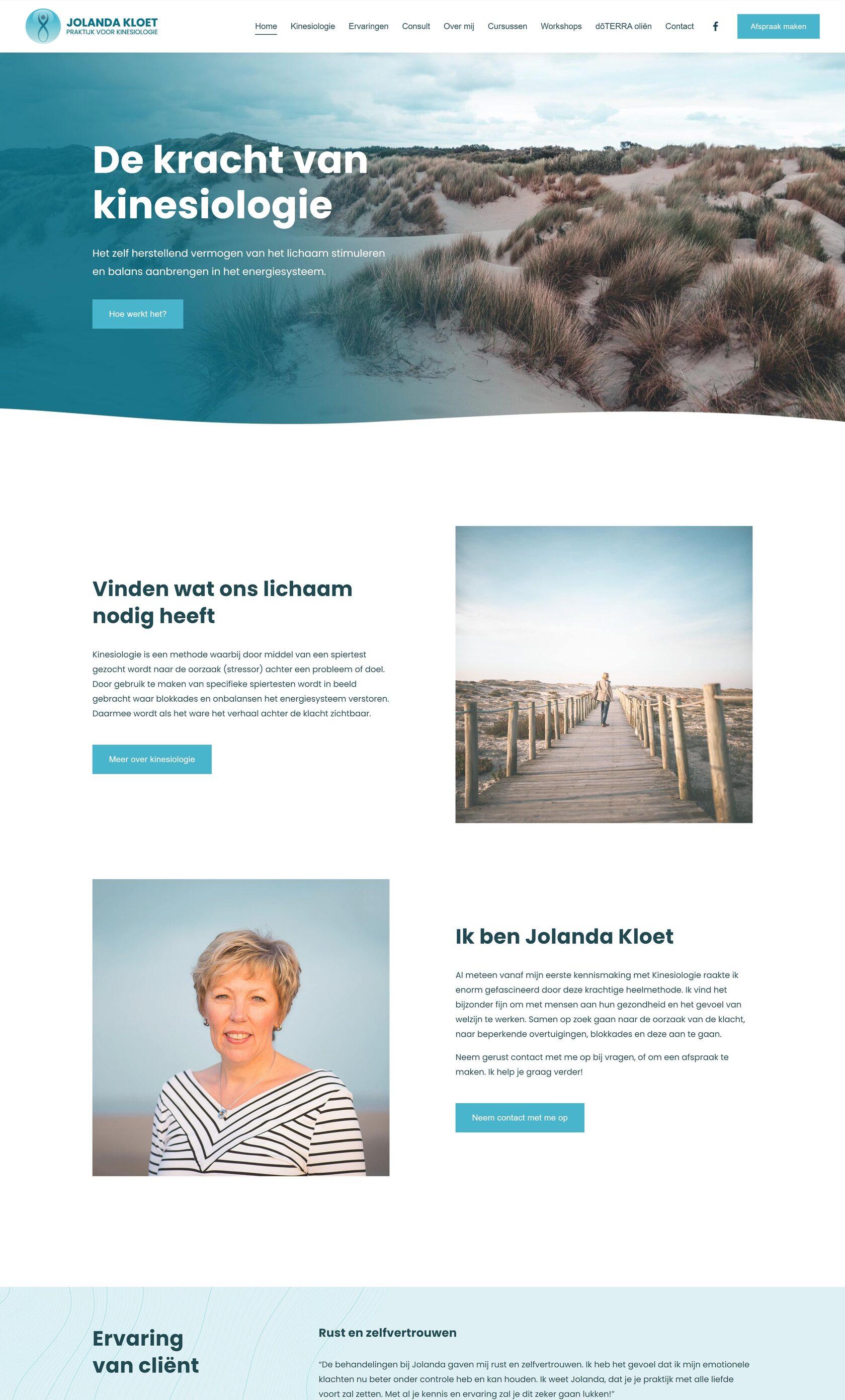 Website voorbeeld van project Jolanda Kloet | Kinesiologie