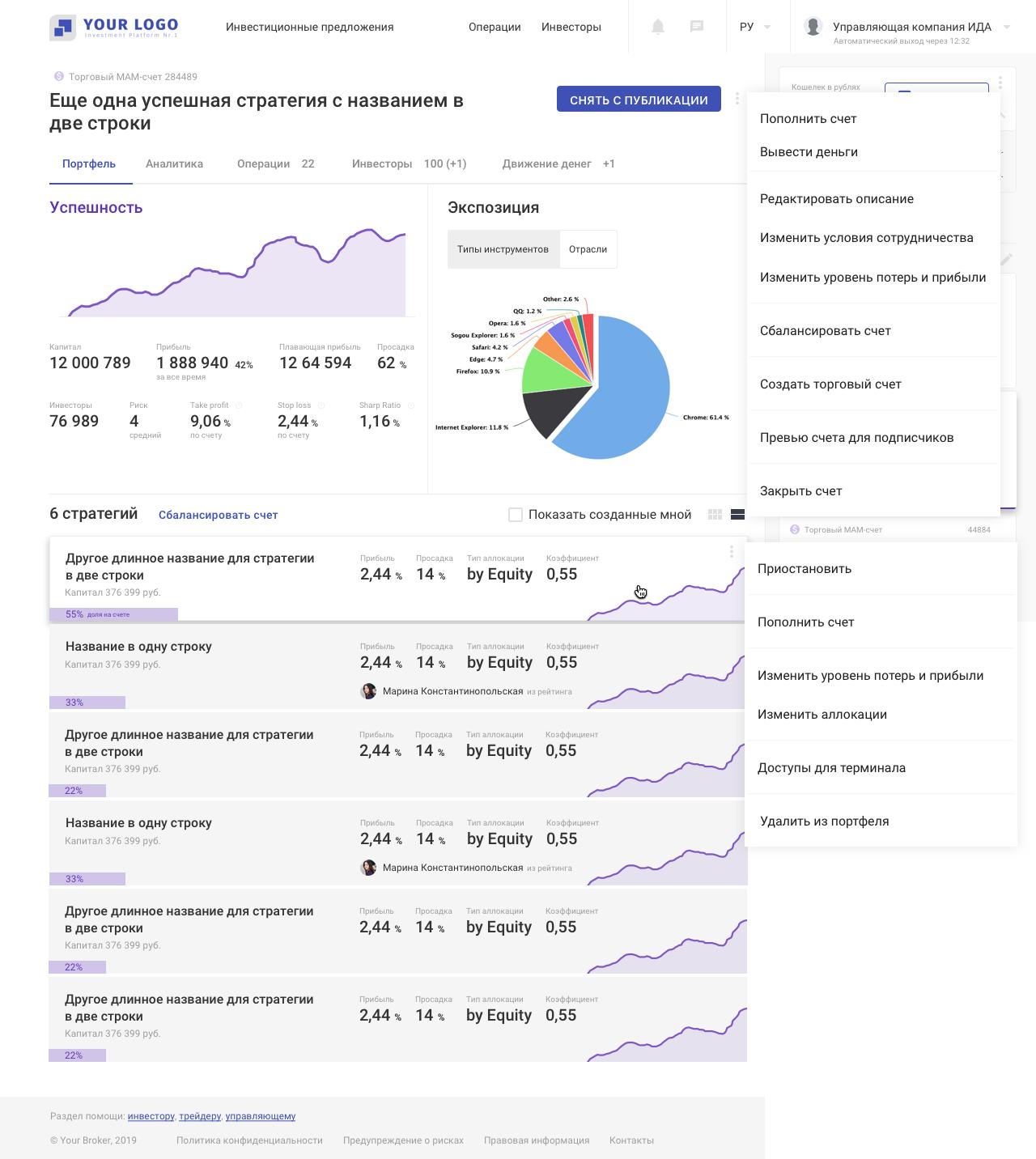Платформа для инвесторов и трейдеров: страница портфельного управляющего | SobakaPav.ru