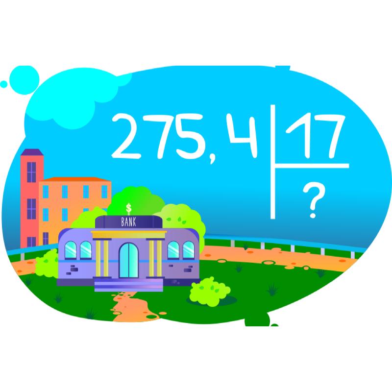 Задача на деление десятичной дроби на число
